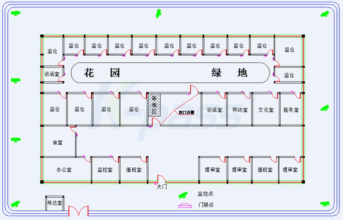 图(4)人行通道门禁系统架构图
